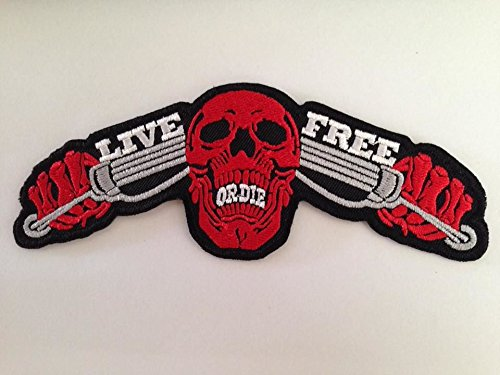 [LIVE FREE OR DIE size 14 x 5.5cm. biker heavy metal Horror Goth Punk Emo Rock DIY Logo Jacket Vest shirt hat blanket backpack T shirt Patches Embroidered Appliques Symbol Badge Cloth Sign Costume] (Indian Wolf Headdress Costume)