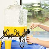 5 gallon coffee dispenser - 5 Gallon Hammered Glass Cold Beverage Dispenser with Metal Stand Party Wedding