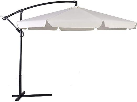 Parasol exterior retráctil 3x3 con brazo lateral giratorio de 360°, estructura de acero inoxidable anti-correa resistente UV y con ranuras de ventilación. Color beige: Amazon.es: Jardín