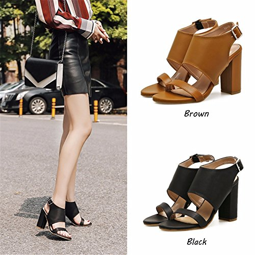 Sandals With Euope nbsp; Sandals Heeled United And Party Sandals High Women The nbsp;summer For black Word Womens Heel eu36 Thick States vvAw0