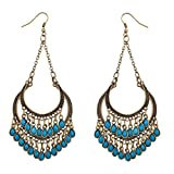 Lux Accessories Synthetic Turquoise Chandelier Dangle Earrings