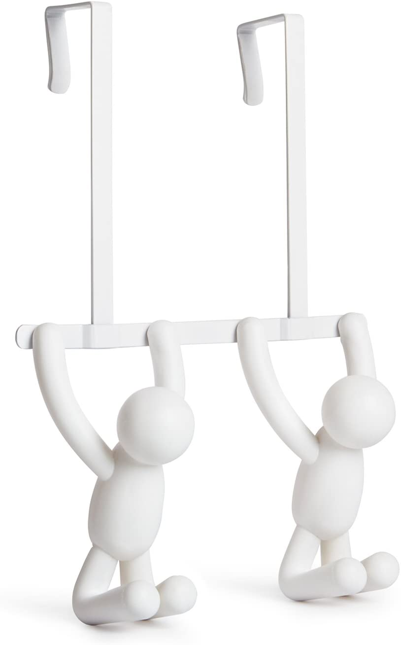 Umbra Buddy Over The Door Double Hook- Over the Door Double Hook, Decorative, Increases Storage, Storage for Coats, Hats, Scarves, Towels and More, Matte White Finish