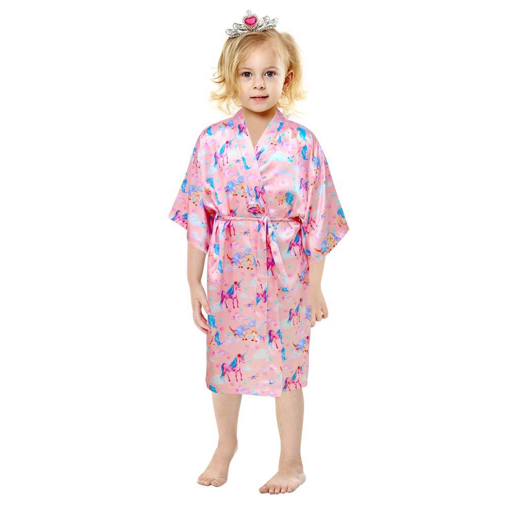 Personalized Flower Girls Child Kimono Robe Nightwear Wedding Dressing Gown 4-12