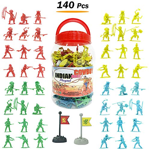 Liberty Imports Cowboys & Indians Big Bucket of Toy Soldiers Army Men Figurines (140 (Action Figure Army Builder)