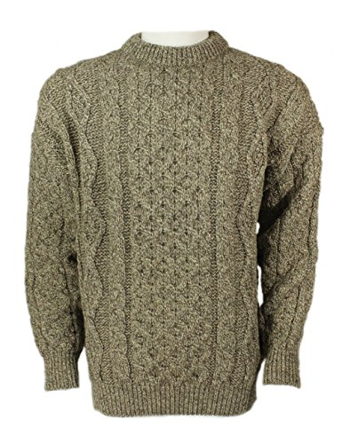 Kerry Woollen Mills Aran Sweater Crew Neck Oatmeal 100% Lambswool Unisex Made in Ireland XL
