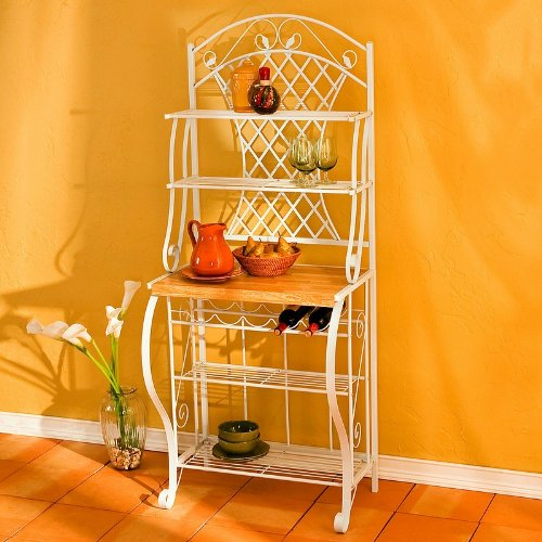 aurora collection ii steel trellis baker's rack with 4 wire shelves and 5-bottle wine rack