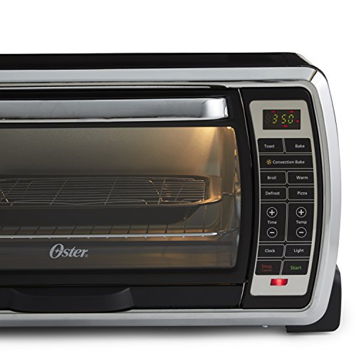 Oster Large Capacity Countertop 6-Slice Digital Convection Toaster Oven, Black/Polished Stainless, TSSTTVMNDG
