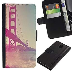 KingStore / Leather Etui en cuir / Samsung Galaxy Note 3 III / Golden Gate Bridge Vignette