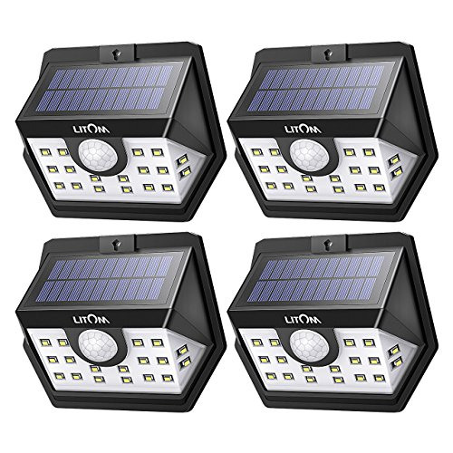 Litom Solar Lights Outdoor, Wireless 20 LED Motion Sensor Solar Lights with Wide Lighting Area, IP65 Waterproof Security Lights for Front Door, Back Yard, Driveway, Garage (4 Pack)