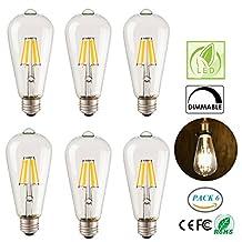 Pack of 6 LED Bulb Vintage Filament Edison Bulb ST64 6W Dimmable Antique Edison LED Light Bulbs E26 120V 2700K Warm White Lights