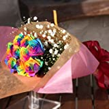 レインボーローズ 虹色のバラ 7色バラ 10本の花束 キラキラ白いかすみ草付き 花言葉「奇跡」