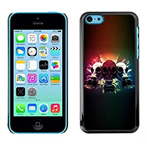 QCASE / Apple Iphone 5C / máscara de gas hombre cara apocalipsis pintura del arte / Delgado Negro Plástico caso cubierta Shell Armor Funda Case Cover