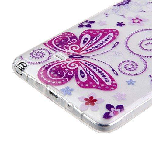 Funda para Galaxy S6 Edge, funda de silicona transparente para Galaxy S6 Edge, Galaxy S6 Edge Case Cover Skin Shell Carcasa Funda, Ukayfe caso de la cubierta de la caja protectora del caso de goma Ult Wisteria mariposa