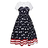 Mose Dress for Women, Ladies Mesh Stitching Short-Sleeved Flag Print Vintage Loose Casual Tops Fashion Flag Mesh Patchwork Evening Party Dress (White, M)