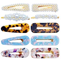 10 Pcs Hair Clips Pearl Hair Barrettes Fashion Geometric Acrylic Resin Alligator Hair Clips Hair Pins for Women Ladies Hair Accessories
