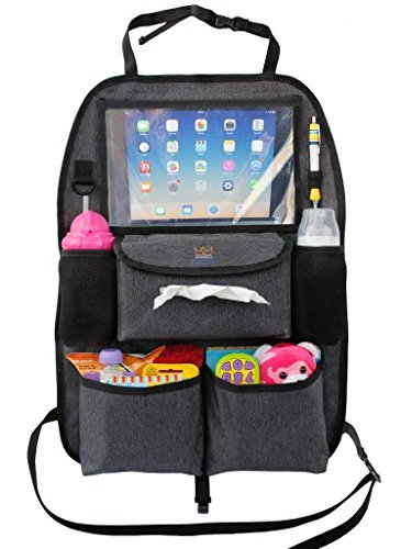 - Backseat Car Organizer for Kids Toys & Baby Wipes with X-Large iPad Tablet Holder + BONUS HOOK, Luxury durable fabric, plenty of storage, firm fit, easy to install, kick mat protector for back of seat