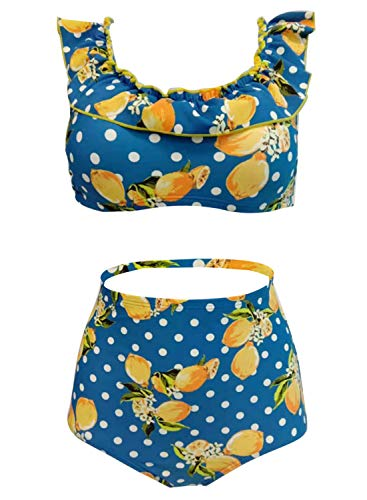 futurino Women's Vintage Two Piece Bikini Swimwear Padding Crop Bikini Top High Waist Swimsuit Bathing Suit Blue
