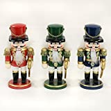 Sigro 3 Assorted Nutcracker Thick Soldier Figure, 16 cm, Wood, Multicolour, One Size