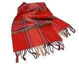 Irish Wool Scarf Bright Red Plaid 63'' x 12'' Irish Made