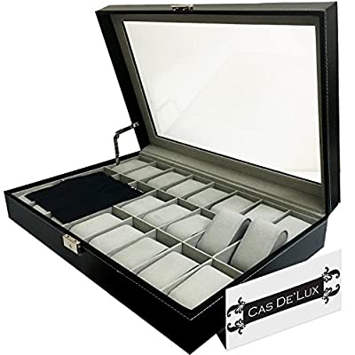 Luxury Watch Box 24 Velvet Pillow Slots, Premium Display Case With Framed Glass Lid, Elegant Contrast Stitching, Sturdy & Secure Lock - By Cas De` Lux