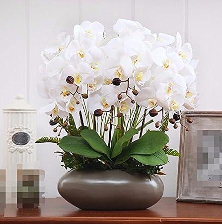 Dsaaa Accueil Bouquets Fleur Fausse Décoration Vases En Céramique Pot De Fleurs Artificielles Orchidée White B Amazon Fr Cuisine Maison