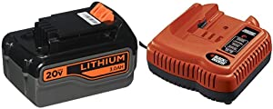 BLACK+DECKER 20V MAX Lithium Battery 3.0 Amp Hour with Battery Charger, 9.6V to 24V (LB2X3020-OPE & BDFC240)