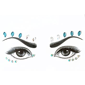 Anself Face Gems Rhinestone Temporary Tattoo Diamond Eyebrow Stickers for festival  party DIY Adhesive 631df8c6b028