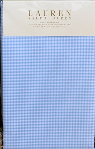 Ralph Lauren 2 KING Pillowcases Georgica Garden Sanabel Blue Gingham