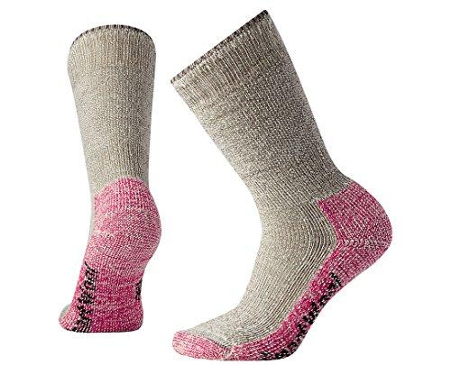 SmartWool Womens Mountaineering Extra Heavy Crew Socks (Taupe/Bright Pink) Medium