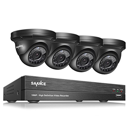 SANNCE 4CH 1080P Video DVR Recorder and (4) HD 1080P Outdoor Metal Security Cameras, IP66 Weatherproof Housing,No Hard Drive Included -