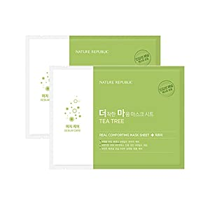 Nature Republic Real Comforting Mask Sheet, 2 Sheet (Tea Tree_Ampoule Type)