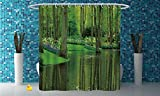 Coca Cola Shower Curtain Polyester Shower Curtain [ Nature,Forest with Lake Dutch Garden Pastoral Woodland Botany Flowerbed Picture Decorative,Fern and Lime Green ] Water and Mildew Resistance Kids Shower Curtain Designs