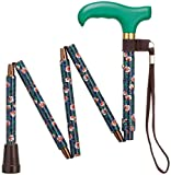 Harvy Canes Women's Ladies Mini-Folding Derby Handle Cane - Trumpet Vine