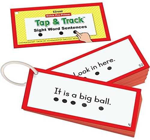 Really Good Stuff Tap and Track Dolch Sight Word Sentence Cards – Beginning Sight Words for Young Children – Practice Reading Sight Words in Sentence Form