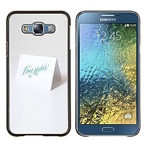 KLONGSHOP // Cubierta de piel con cierre a presión Shell trasero duro de goma Protección Caso - carta blanca - Samsung Galaxy E7 E700 //