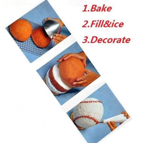 Amazon.com: Creative 3D Sports Ball Shaped Cake Pan Baking Mold Set // Molde para pasteles en forma de juego de moldes para hornear creativa balones de: ...