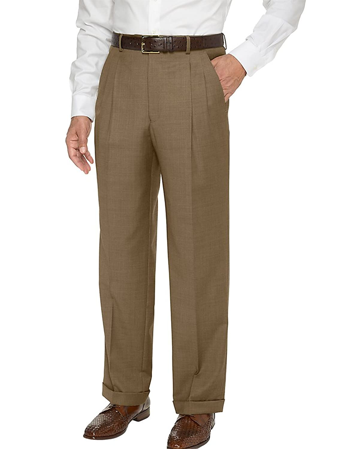 1940s Trousers, Mens Wide Leg Pants Paul Fredrick Mens Super 120s Sharkskin Pleated Pants $99.95 AT vintagedancer.com