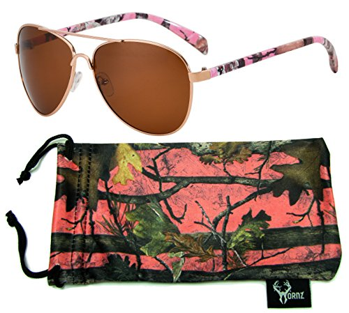 Hornz Pink Camouflage Polarized Aviator Sunglasses for Women & Free Matching Microfiber Pouch – Medium Size - Pink Camo Frame – Amber - Lenses With Camo Sunglasses