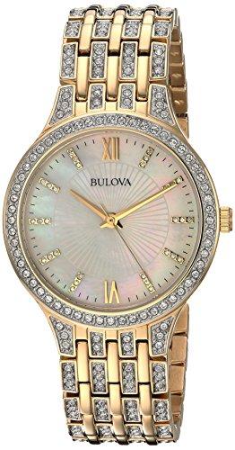 Bulova Women's 98L234 Swarovski Crystal Gold Tone Bracelet Watch