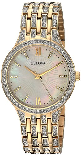 Bulova Women's 98L234 Swarovski Crystal Gold Tone Bracelet Watch Bulova Ladies Crystal Bezel