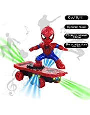 Amazing Things Spiderman Electronic Stunt Scooter Skateboard 360° Rotation W/ Music Light Toys