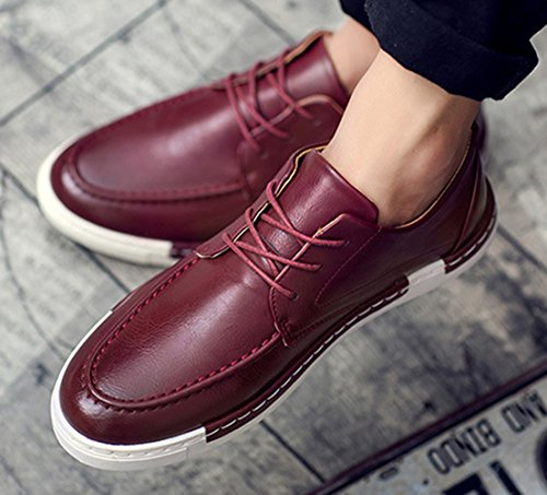Insun Sneakers Fashion Burgundy Oxford Leather Faux Men's Fvrqw0F