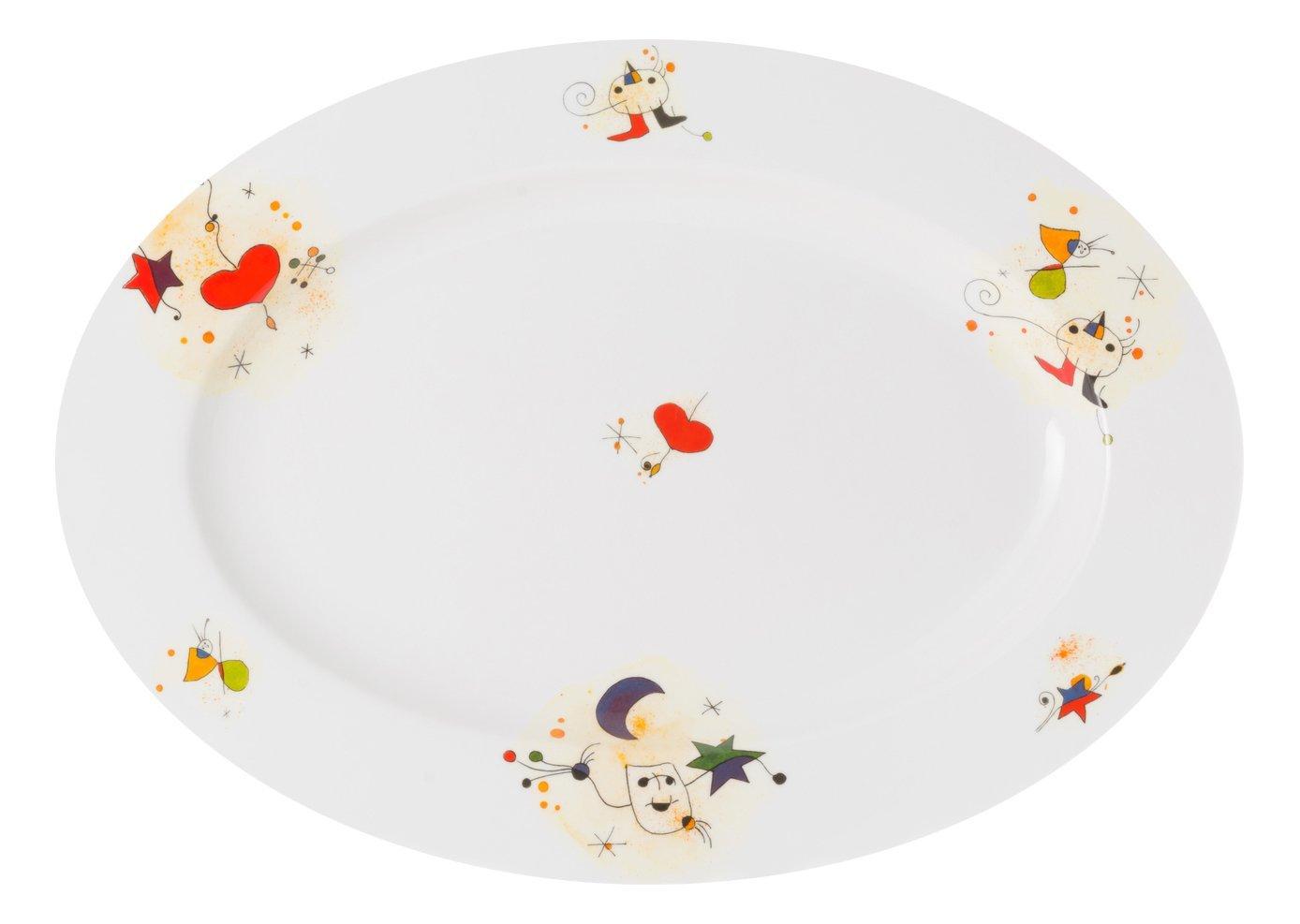 La Cija Miró Fuente Grande de Porcelana 40 cm, Blanco, 39.5x28.3x4 ...