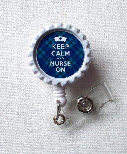 Keep Calm and Nurse On - Tartan Blue - ID Badge Holder - Badge Reel - Geeky Badge Holder, Nurse ID Badge Clip