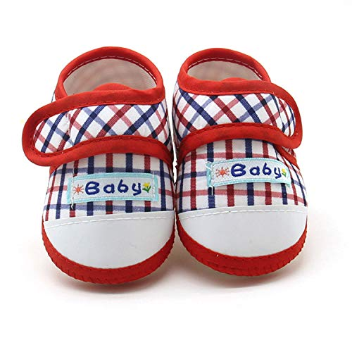 Prewalker Shoes Baby Girls Boys Plaid Cute Anti-Slip Toddler Prewalker Shoes Infant Boys Soft Prewalker Shoes,Red,13