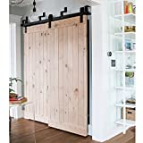 WINSOON 4ft Bypass Barn Door Hardware Sliding Kit for Interior Exterior Cabinet Closet Doors With Hangers(J Shape Roller)(2 Piece 4 Foot Rail)