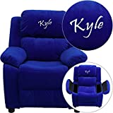 Flash Furniture Personalized Deluxe Padded Microfiber Kids Recliner with Storage Arms, Blue