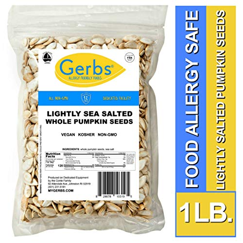 Gerbs Lightly Sea Salted Whole Pumpkin Seeds, 1 LB. - Top 14 Food Allergy Free & NON GMO - Vegan, Keto Safe & Kosher - Grown in USA