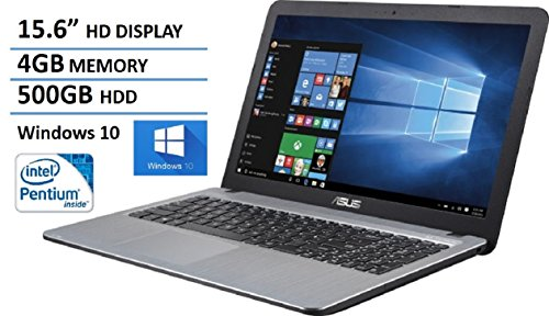 2016 ASUS VivoBook Flagship Model 15.6″ Laptop – Intel Pentium N3700 Quad core (2M Cache, up to 2.4 GHz), 4GB RAM, 500GB HDD 5400 RPM, SuperMulti DVD/CD, Webcam, HDMI, VGA, Windows 10, Silver