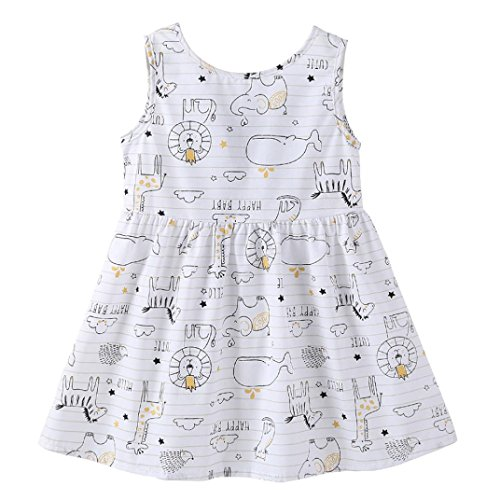vermers Clearance Baby Girls Print Sundress - Toddler Sleeveless Floral Straps Bow Dresses Clothes(4T, White) -
